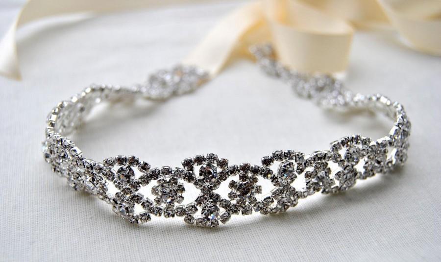 Wedding - Glamor Crystal Rhinestone Tie on Headband headpiece, Crystal Bridal Headband, Wedding ribbon headband, Bridal rhinestone head piece, prom
