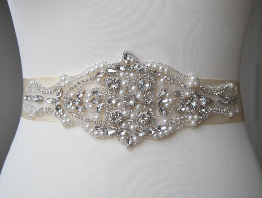 Wedding - Luxury Pearls Crystal Bridal Sash,Wedding Dress Sash Belt,  Rhinestone Sash,  Rhinestone Bridal Bridesmaid Sash Belt, Wedding dress sash