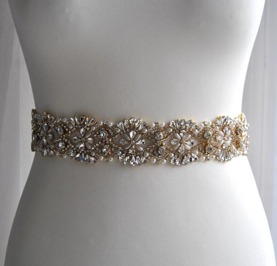 "Hochzeit - 20"" Gold Luxury Crystal Bridal Sash,Wedding Dress Sash Belt,  Rhinestone Sash,  Rhinestone Bridal Bridesmaid Sash Belt, Wedding dress sash"