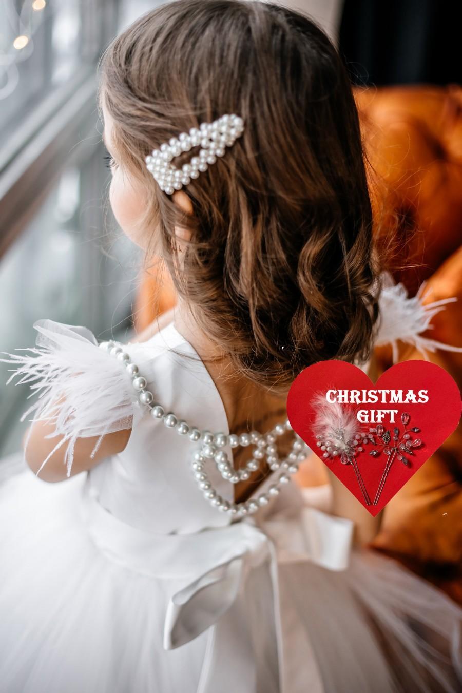 Свадьба - Tulle Flower Girl Dress, Tutu Flower Girl Dress, Satin Flower Dress,Ivory Girl Dress, White Girl Dress, Birthday Girl Dress, First Communion