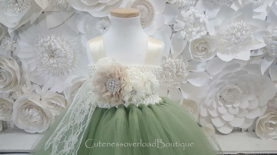 Свадьба - Sage Green Flower Girl Tutu Dress-Sage Green Tutu Dress-Sage Green Tutu Dress.Flower Girl Tutu Dress-Wedding Tutu Dress