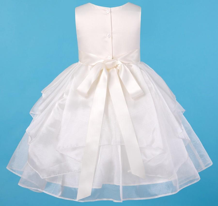 Свадьба - Ivory Flower girl dress Wedding Junior Bridesmaid, Communion Baptism Toddler Easter Shimmering Organza Princess Formal Dress Made to Order!