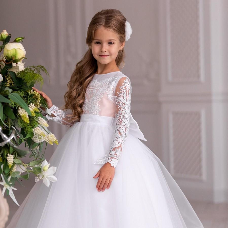 Свадьба - white flower girl dress - first communion dress - pageant dress - ball gown dress - tutu dress toddler - birthday dress - pageant dress -