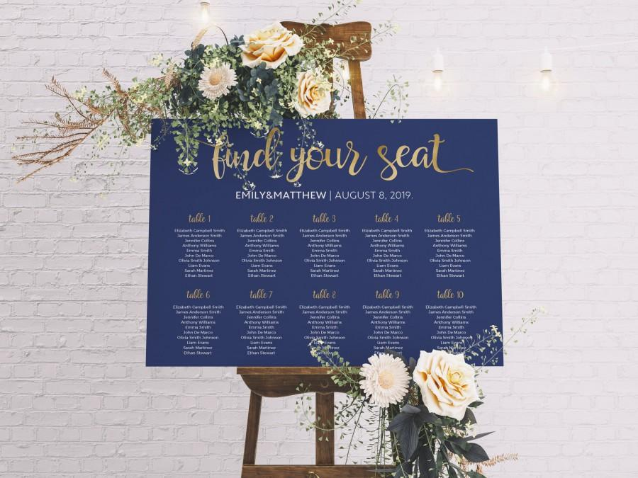 Wedding - Seating Chart Wedding, Table Plan, Navy Seating Chart, Wedding Seating Plan, Wedding Table plan, Wedding Decor, Gold Seating Chart