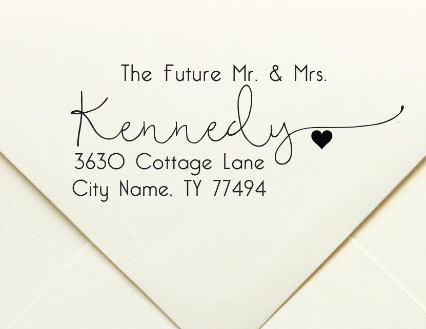 Wedding - The Future Mr. & Mrs. Family Names Personalized Return Address Stamp, Self Inking Wedding Stamp, Hand Lettered Wedding Stamp