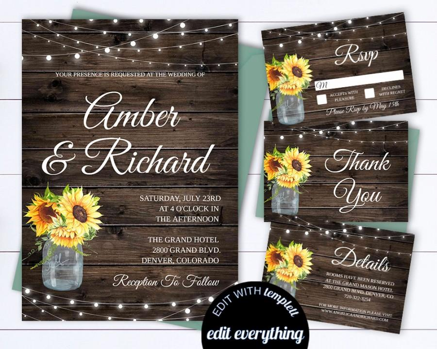 Wedding - Sunflower Wedding Invitation Template Country Wedding Template Instant Download Printable Invitation Rustic Invitation Wedding Template