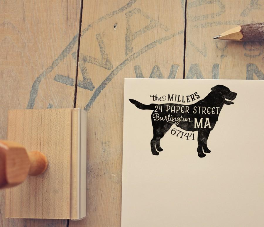 Hochzeit - Labrador Retriever Return Address Stamp, Dog Owner Gift, Wooden Handle, Custom Rubber Stamp, Yellow or Black Lab Stamp