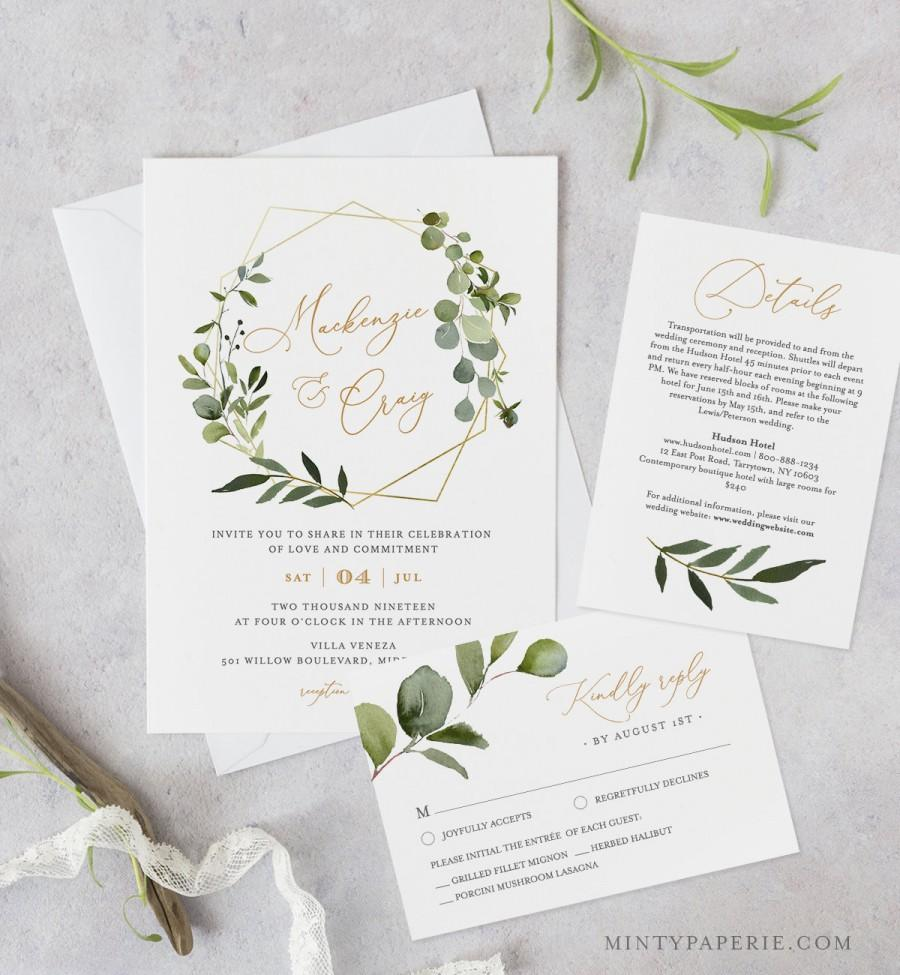 زفاف - Greenery Wedding Invitation Template, Printable Invite, RSVP and Details, INSTANT DOWNLOAD, 100% Editable Text, DiY, Boho Wreath #056B