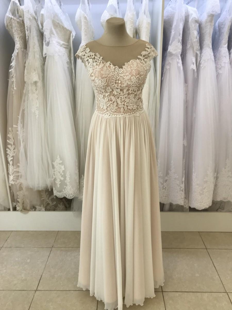 زفاف - A line wedding dress, Rustic Simple wedding dress, Romantic dress, Romantic bridal gown, Elegant lace wedding dress, chiffon wedding dress