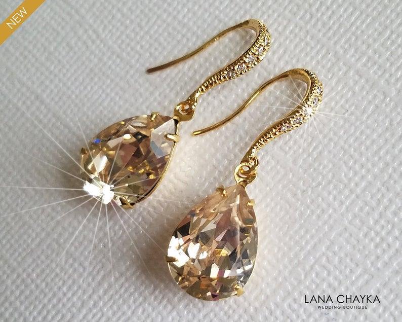 Hochzeit - Champagne Crystal Gold Earrings, Wedding Teardrop Dangle Earrings, Swarovski Light Silk Earrings, Champagne Gold Jewelry, Bridesmaid Jewelry