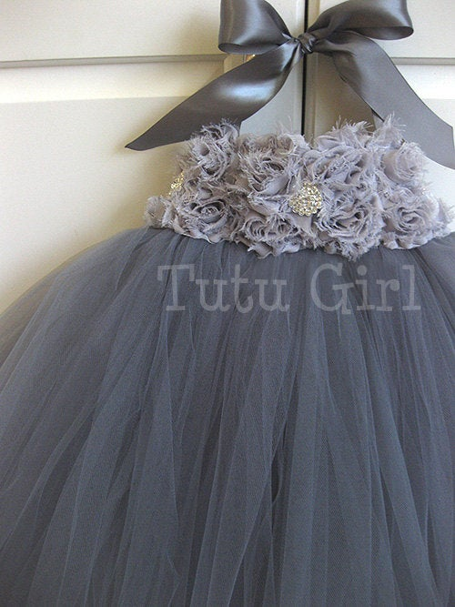 Hochzeit - Gray Tutu Dress Flower Girl, Grey Tutu Dress, Charcoal, Platinum, Girls Baby Toddler, Tulle Flower Girl Dress