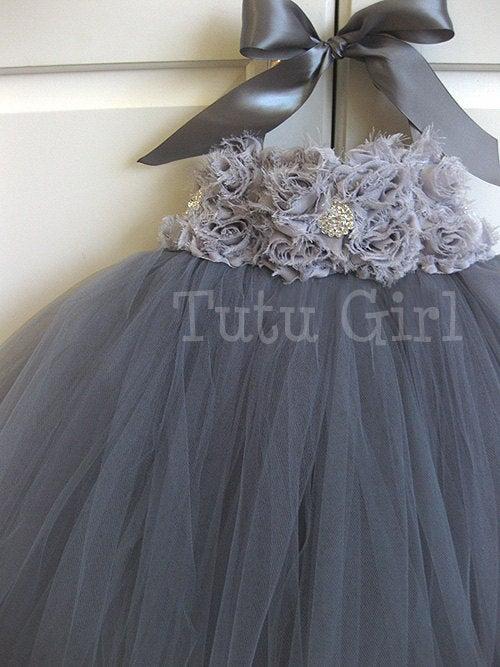 Wedding - Gray Tutu Dress Flower Girl, Grey Tutu Dress, Charcoal, Platinum, Girls Baby Toddler, Tulle Flower Girl Dress