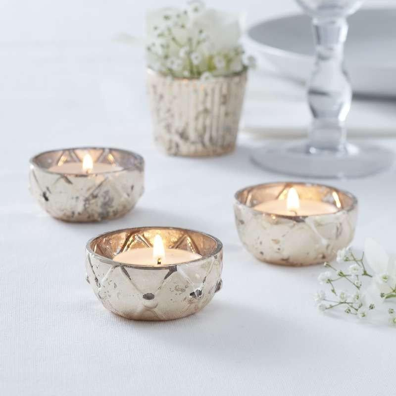 Mariage - Gold Checked Glass Tea Light Holder, Rustic Wedding Decorations, Candle Holders, Venue Decorations, Golden Wedding
