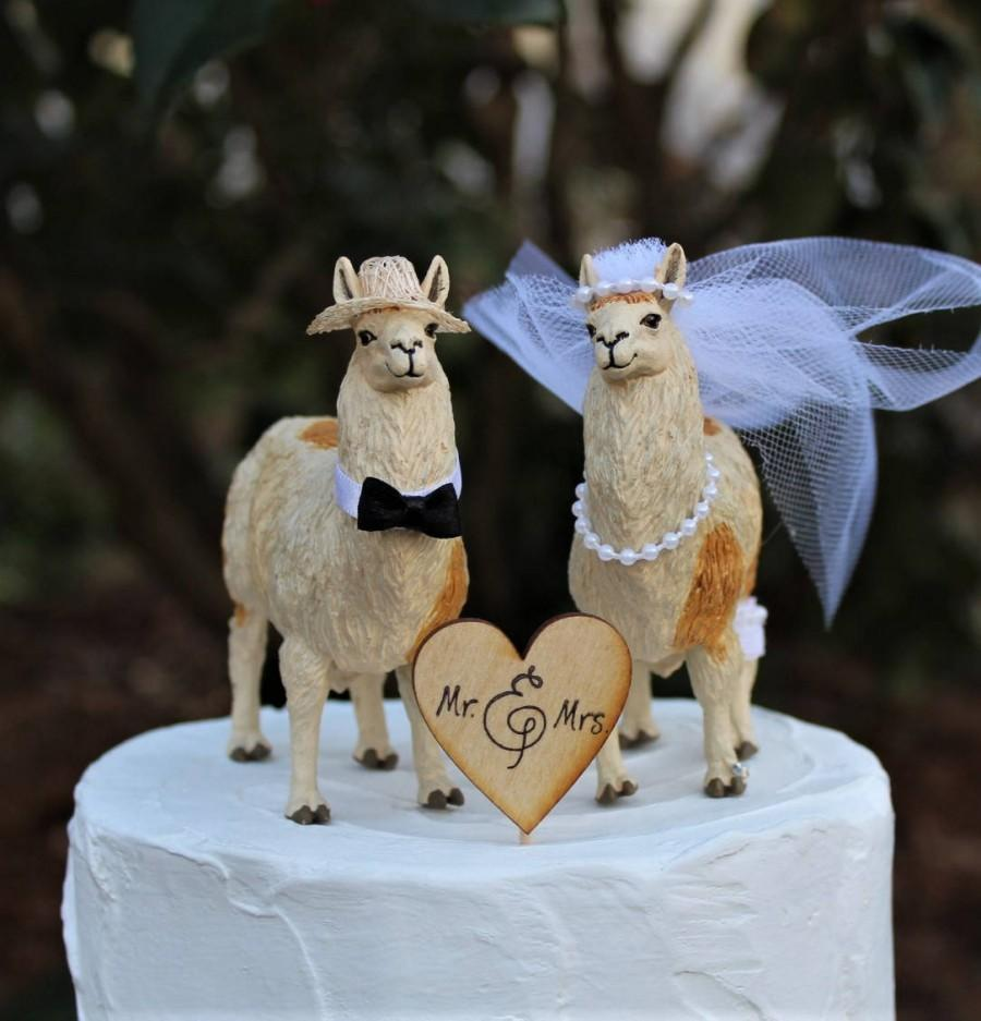 Wedding - Llama Cake Topper, Animal-Farm-Funny-Wedding-Bride-Groom-Unique