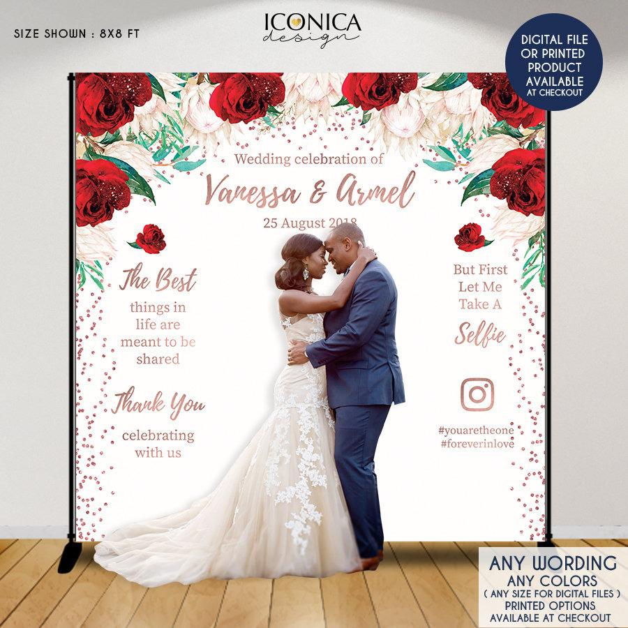 Hochzeit - Wedding backdrop,White Red Rose Gold Wedding Decor, Engagement party, Floral Photo backdrop,Personalized Step And Repeat Backdrop, BWD0042