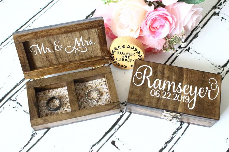 Mariage - Rustic Double Ring Bearer Box