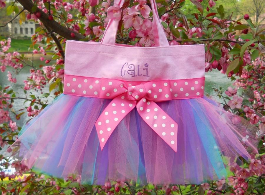Wedding - Naptime 21, Ballet bag, Girls Dance Bag, Pink Tote Bag with Pink, Grape & Aqua Tulle, Naptime 21, Embroidered Tutu Tote Bag TB649 D