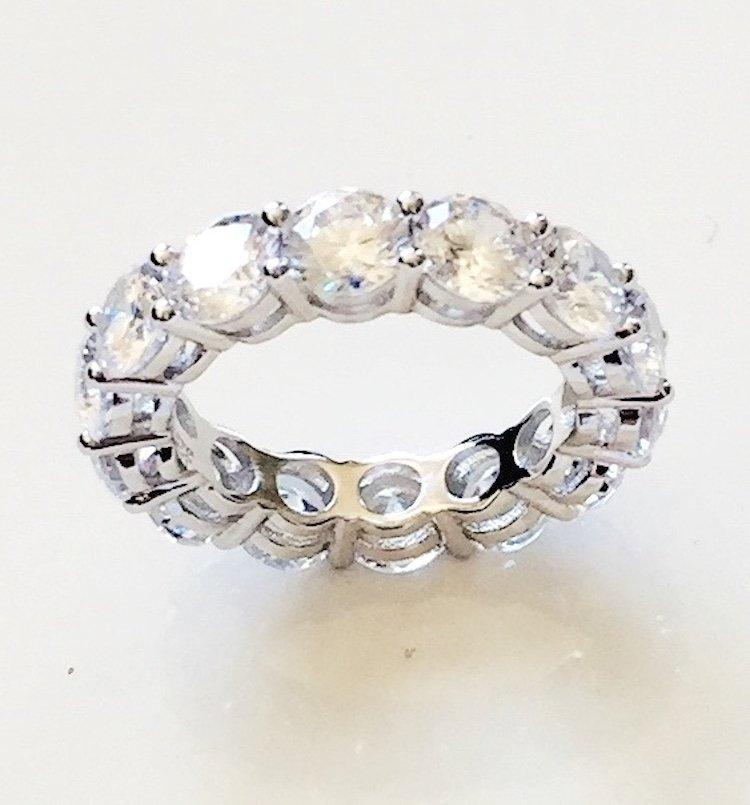 Mariage - 8.55 TCW 925 Sterling Silver Round Cut 4.5 mm CZ Prong Set Eternity Bridal Wedding Ring Band Half Sizes Available Size 4-12