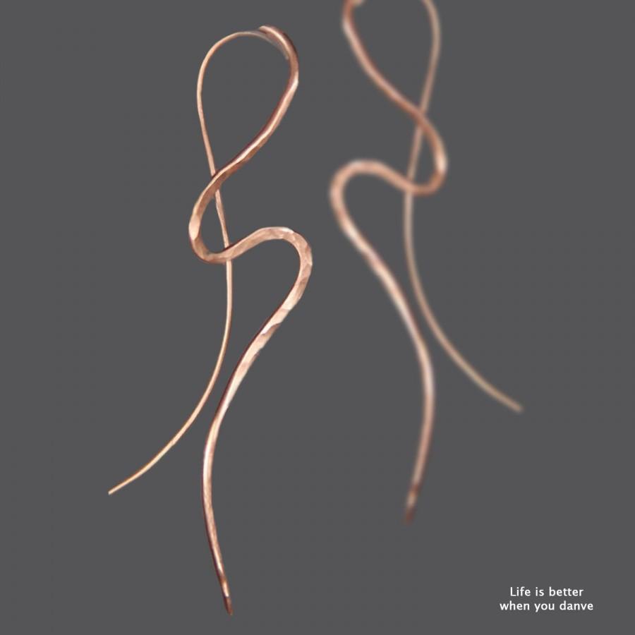 زفاف - Abstract earrings, Copper earrings, hammered, Handmade earrings, wavy Earrings, statement earrings, Free US Shipping