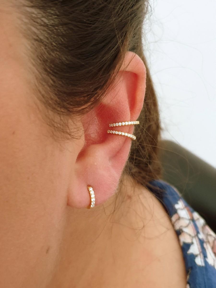 Hochzeit - Dainty CZ hoops,CZ earrings,huggie hoops,Huggie earrings, Tiny hoops, gold hoops, ear cuff earrings, gold ear cuff, bridesmaid gift