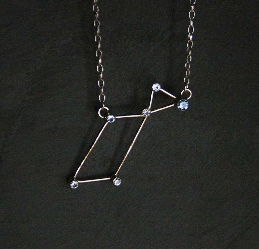 Hochzeit - Lyra Constellation Necklace - sterling silver and synthetic blue spinel -  READY to SHIP
