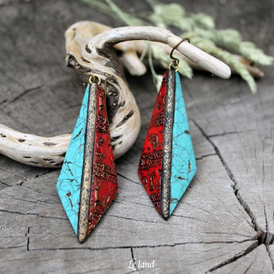 زفاف - Turquoise Red Dangle Earrings Tribal Long Earrings Unique Boho Jewelry boho Fashion earrings Textured Artisan Earrings Statement Earrings