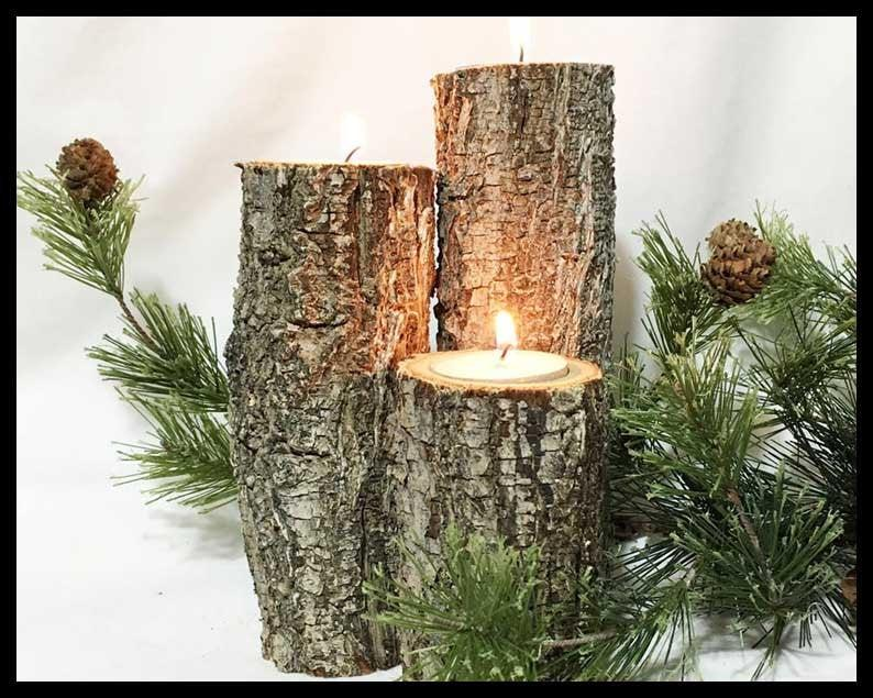 Hochzeit - Log Wood Candle Set of 3 tealights included.