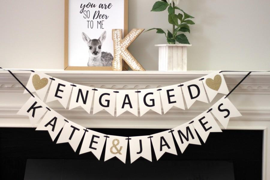 Wedding - engagement party decorations - bridal shower banner - personalized engagement decorations - engagement banner - Engaged - name banner set
