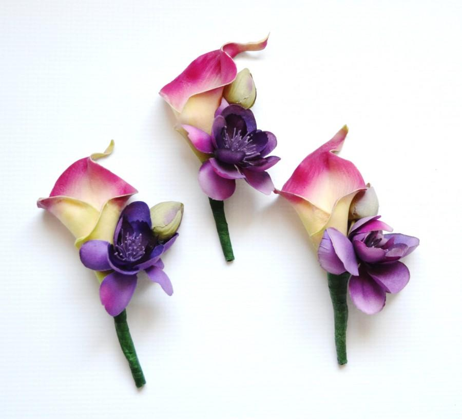 Wedding - Pink and Purple Real Touch Calla Lily Boutonniere, Wedding Flowers, Floral Arrangement, Rustic Flowers, Boho Wedding, Beach Wedding