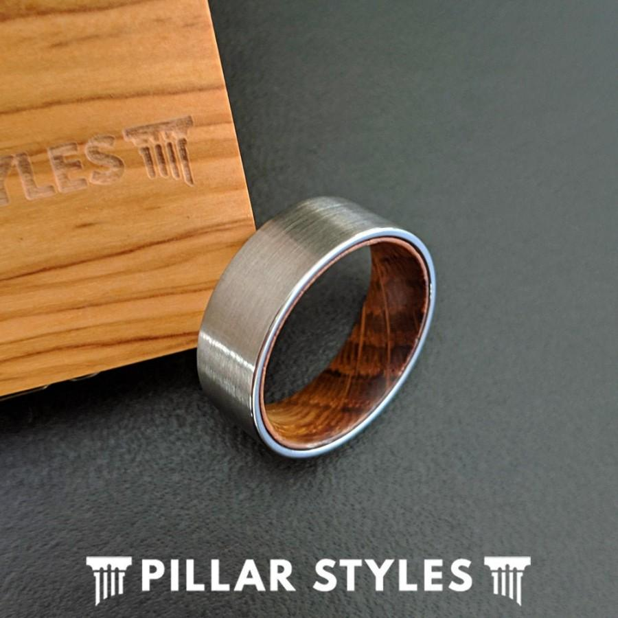 زفاف - Unique Whiskey Barrel Ring - Wood Wedding Ring - 8mm Mens Wedding Band Whiskey Ring - Tungsten Wedding Band Mens Ring Silver Wood Ring Men