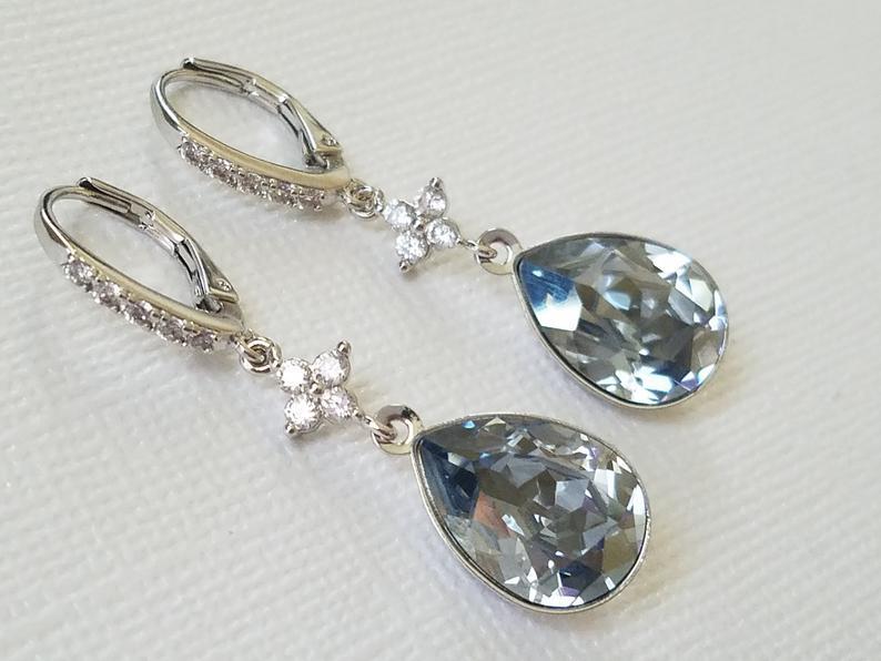Свадьба - Dusty Blue Crystal Earrings, Blue Teardrop Leverback Earrings, Swarovski Blue Shade Earrings, Wedding Jewelry, Bridal Jewelry, Prom Earrings