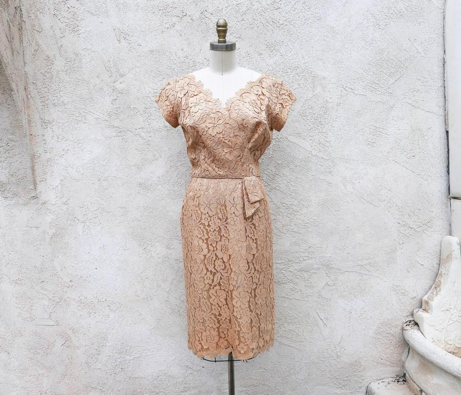 Wedding - 1950s Lace Dress, Beige Sheath, Straylight Vintage