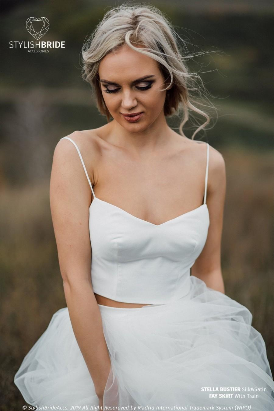 Wedding - Stella Bridal Bustier, Silk Satin Corset Plus Size with Thin Straps, Wedding Bustier Top - low back, Sweetheart Shape Prom Corset