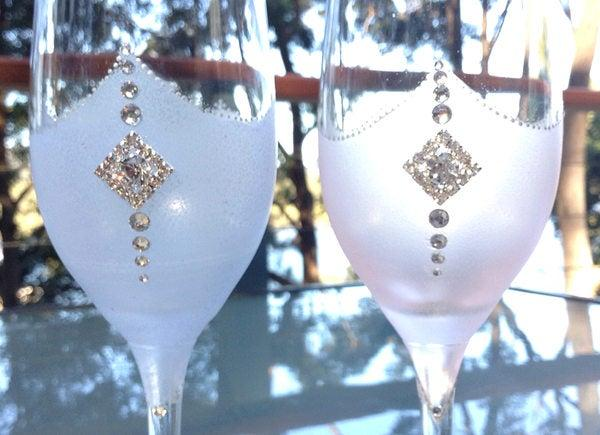 Hochzeit - Fantasy Wedding Champagne Toasting Glasses Wedding Glasses for Bride and Groom  Toasting Glasses Wedding Flutes Hand Painted Flutes