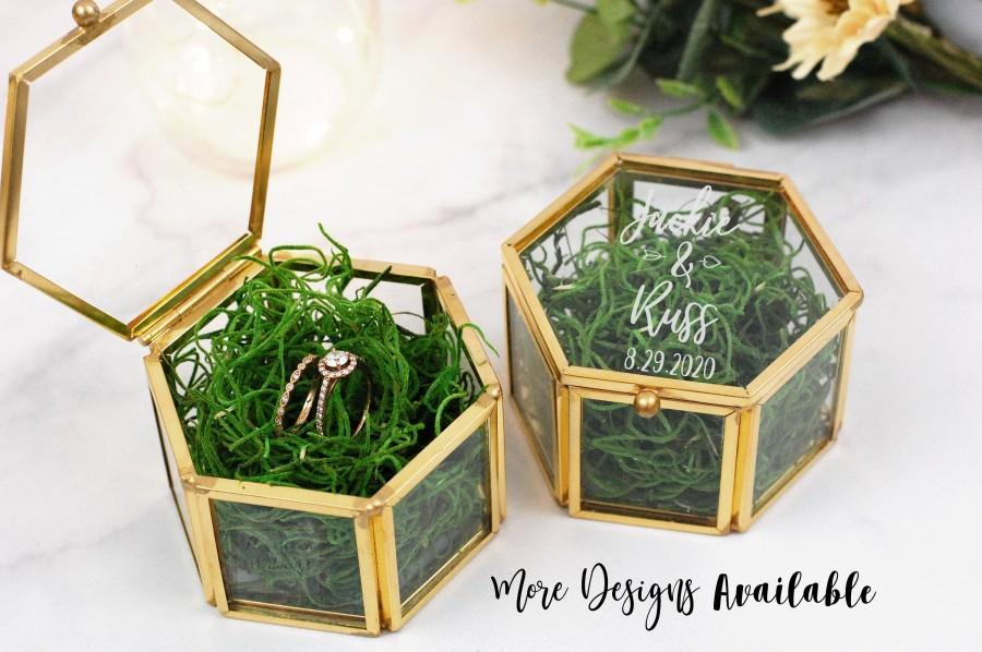 Wedding - Personalized Glass Ring Box, Gold Ring Box, Laser Engraved Glass Ring Box, Ring Bearer Box, Clear Ring Box, Hexagon Shaped Ring Box, Wedding
