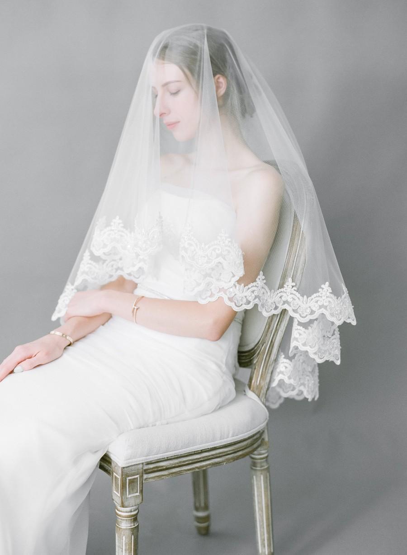 Wedding - Elbow to Fingertip Length Mantilla Veil