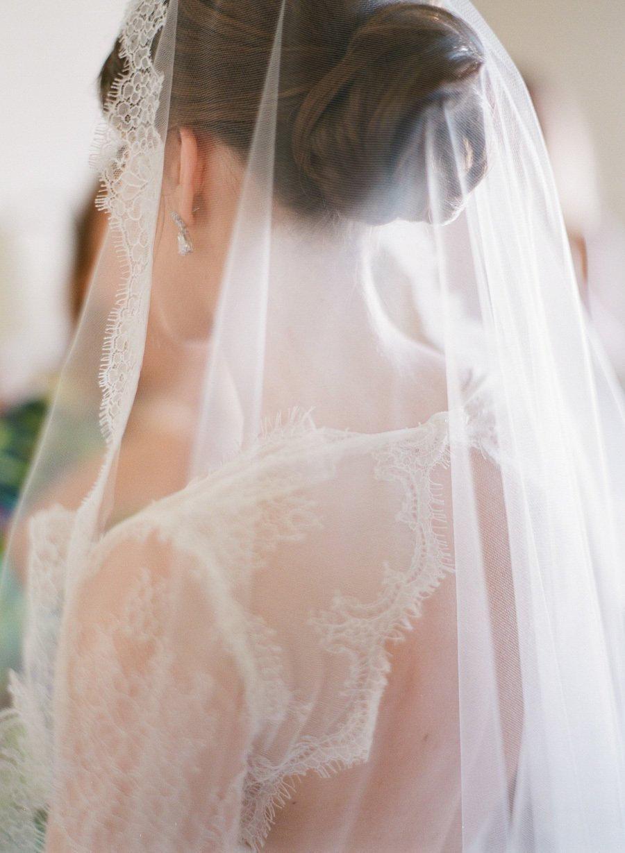 Wedding - French Lace veil, Wedding veil lace, Bridal veil ivory, Mantilla veil, Chapel veil