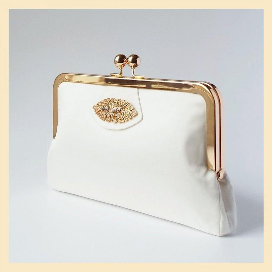 Mariage - bridal purse, ivory wedding clutch, Art Deco wedding purse in silk, personalised purse