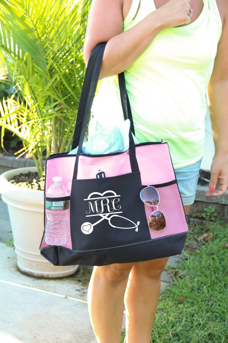 Wedding - Personalized Bag, Nurse Stethoscope Heart Bag personalized with monogram, Heavy tote bag, zippered, Heavy canvas, Carryall,Nurse Bag