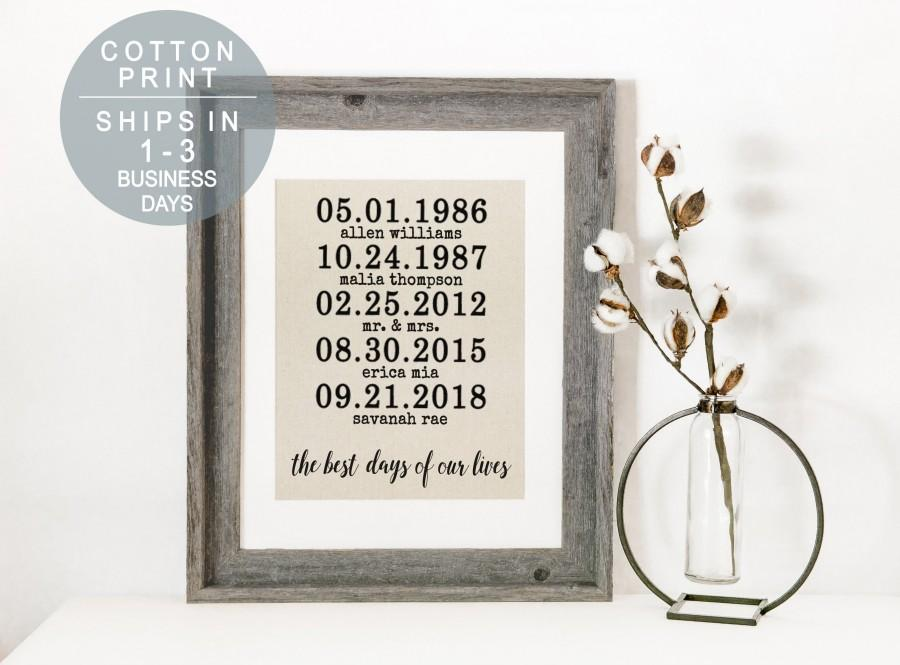 Hochzeit - Personalized Christmas Gift The Best Days of Our Lives Cotton Print Childrens Birth Dates Personalized Family Name Sign Anniversary Gift