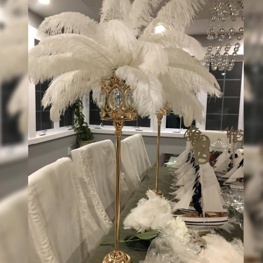 """Mariage - 27"""" Tall GATSBY LARGE CRYSTALS Gold Crystal Globe Stand Ostrich Feather Centerpiece Great Gatsby/Wedding/Old Hollywood/Glitz and Glam themes"""