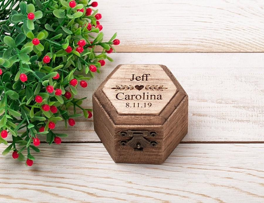 Wedding - Personalized Ring Box, Rustic Wedding Ring Bearer Pillow, Engagement Proposal Ring Holder, Engraved Wood Ring Holder, Hexagon Ring Box