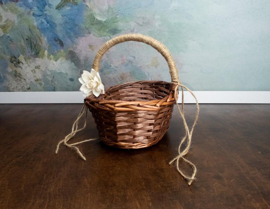 Mariage - Rustic flower girl oval basket, burlap cord sola flower, ivory brown simple rustic woodland wedding