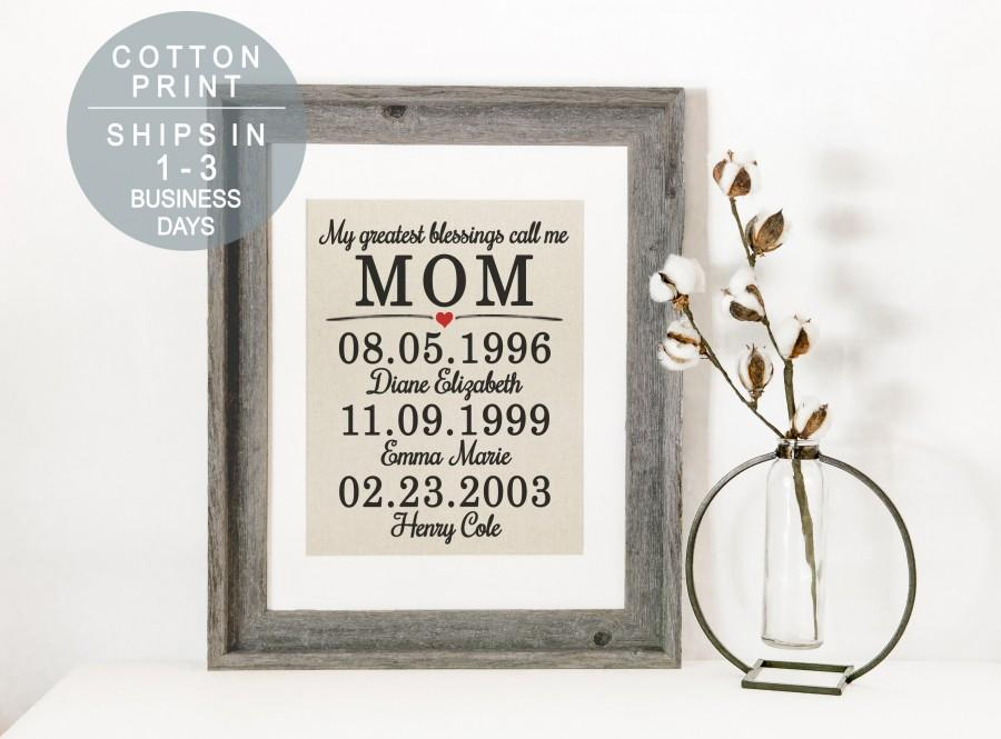 Mariage - Mother Gift Personalized Christmas Gift for Mom from Daughter The Best Days Family Birthdays Cotton Print Birthday Gift for Mom from Kids