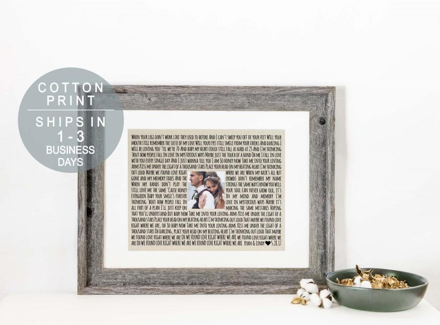 Wedding - Personalized Photo Frame Wedding Song Lyric Art Framed Song Lyrics Print on Cotton Wedding Anniversary Gift Engagement Gift for Bride Gift