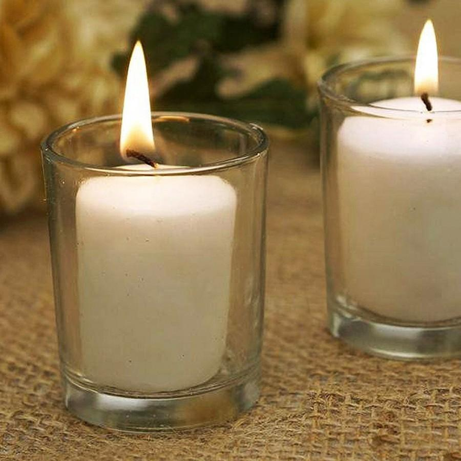 Свадьба - 72 Clear Glass Votive Holders Candles Included Candle Holders Bulk Wholesale Wedding Reception Table Decorations Decor Romantic Lighting