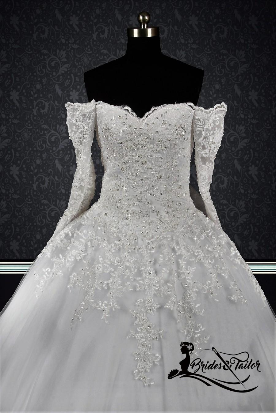 Hochzeit - Off Shoulder Wedding Dress with Lace