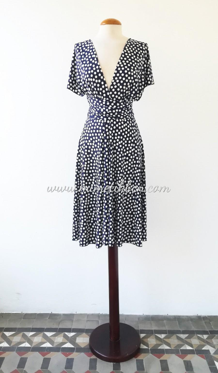 Hochzeit - Retro dress short, Polka dot tea dress, Retro vintage inspired dress, Blue & White Polka Dot, Rockabilly dress, Pinup polka dot dress blue