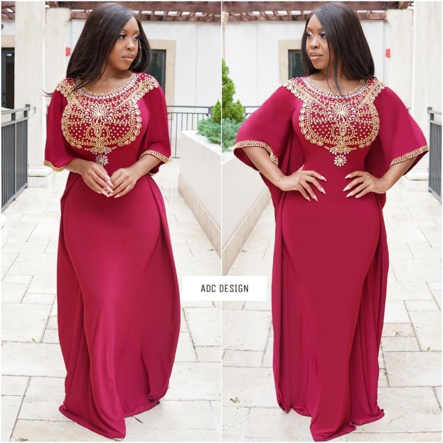 Wedding - Daytona Kaftan Dress , Wine color ( kaftan dress , abaya , dress , prom , babyshower , bridesmaid )