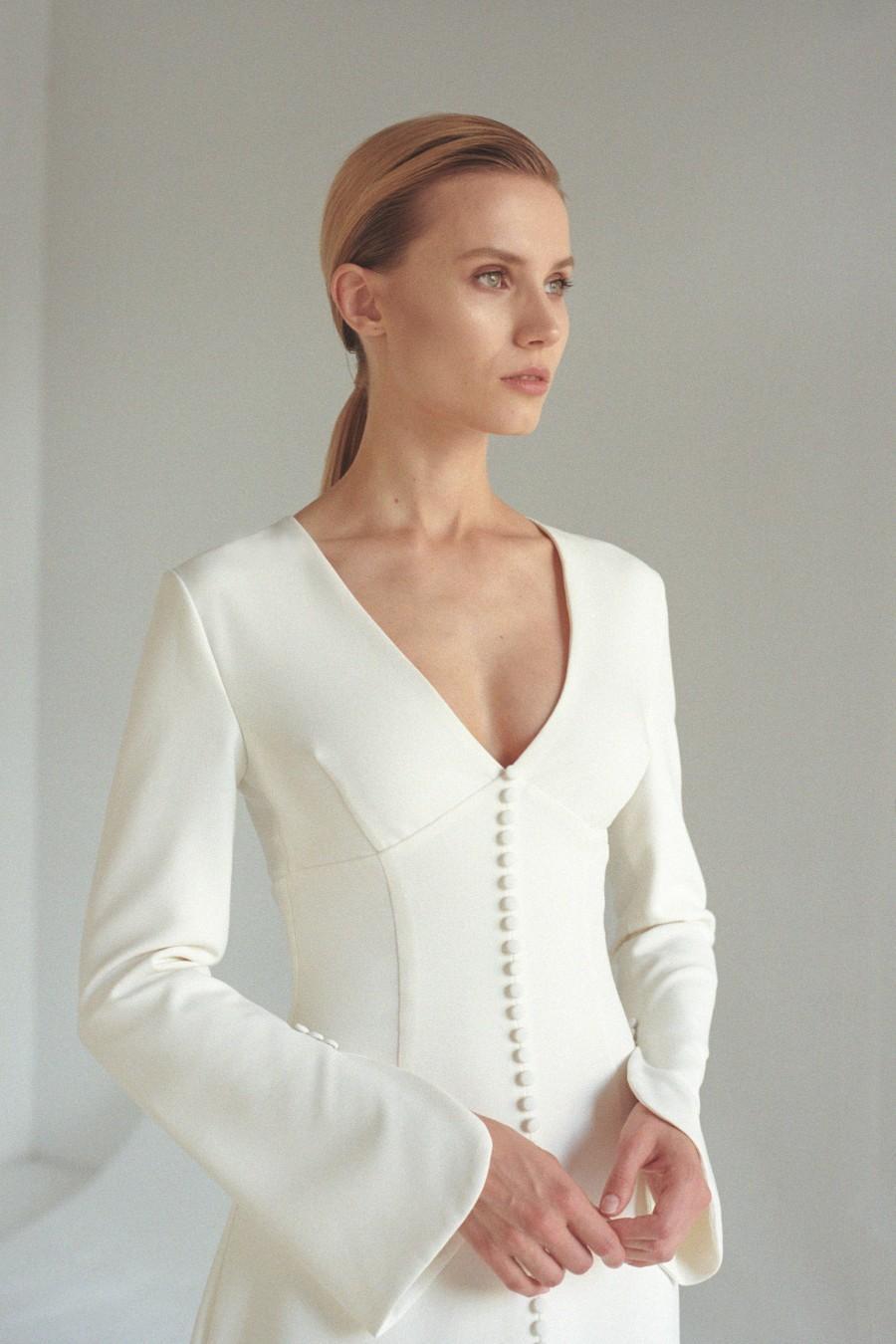 Hochzeit - Boho flared sleeve wedding dress Button front bridal gown Deep V neck wedding dress with center split A line and train bridal dress COLETTE